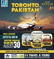 Toronto to Pakistan - Starting 1050$ CAD - FJTravels
